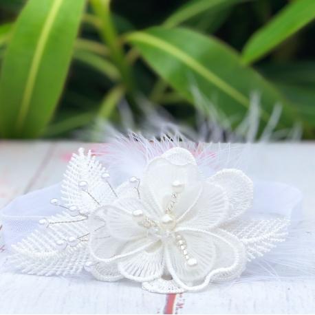 Κορδέλα βάπτισης Organza flower and pearls