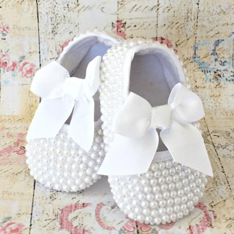 Βαπτιστικα παπουτσια με περλες White