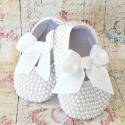 Βαπτιστικά παπούτσια για κορίτσι με πέρλες λευκό