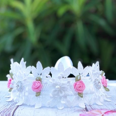 Στεφανάκι βάπτισης Lace and Pink Roses