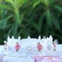 Στεφανάκι βάπτισης Lace and Dusty Pink Roses