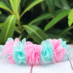 Κορδέλα μαλλιών στεφανάκι aquamint ant pink