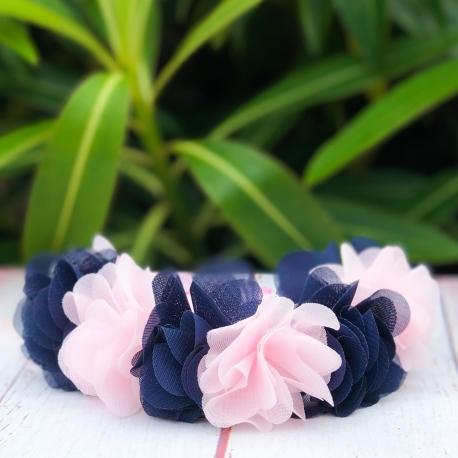 Κορδέλα μαλλιών στεφανάκι navy and pink