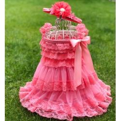 Φόρεμα για κορίτσι κοραλί με κορδέλα σετ