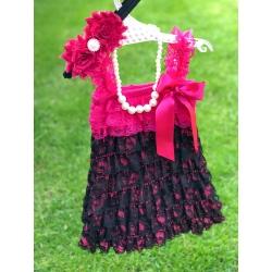 Φόρεμα για κορίτσι Hot fuchsia and black με κορδέλα