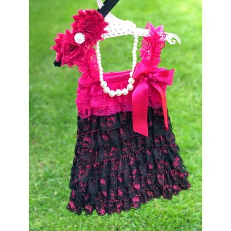 """φορεμα """"Hot fuchsia & black"""" με κορδελα"""