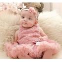 Βρεφικό φόρεμα Tutu Dusty pink με κορδέλα