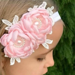 Κορδέλα μαλλιών Exclusive Light pink Flowers