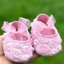 παπουτσάκια για κορίτσι Light pink rosette