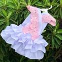Βρεφικό κορμάκι με ροζ δαντέλα