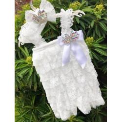 Oλόσωμο λευκό φορμάκι με κορδέλα Crystals