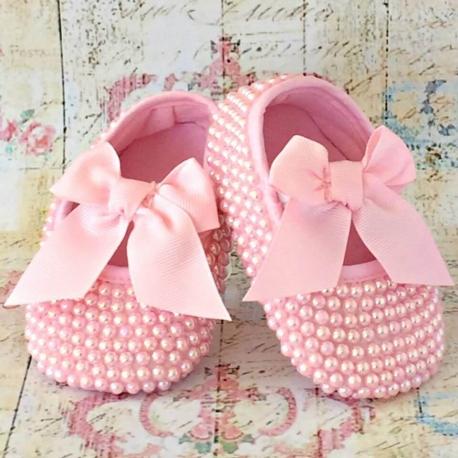Βαπτιστικα παπουτσια με περλες Pink