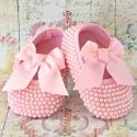 Βαπτιστικά παπούτσια για κορίτσι με πέρλες Pink