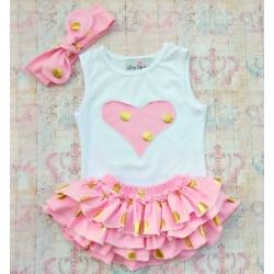 """Σετ για κοριτσι """" Gold dots"""" baby pink"""
