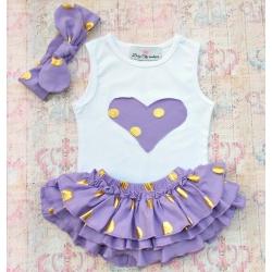 """Σετ για κοριτσι """" Gold dots"""" lavender"""