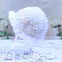 Βρεφικό καπέλο δαντέλα και πέρλες