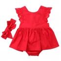 Βρεφικό φορμάκι φορεματάκι Red με κορδέλα