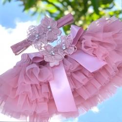 Κάλυμμα πάνας-Tutu Dusty Pink με κορδέλα