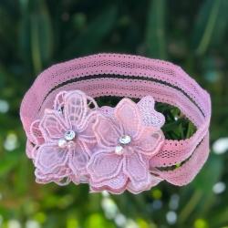 Κορδέλα μαλλιών Dusty pink lace