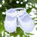 Παπούτσια βάπτισης κορίτσι Pearl flowers με κορδέλα μαλλιών