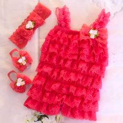 Premium lace romper set Watermelon