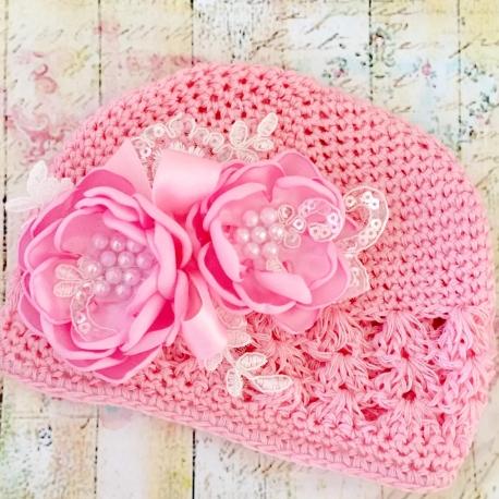 Σκουφακι βαπτισης Pink Bouquet