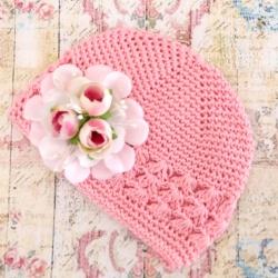 Πλεκτό σκουφάκι pink with pink roses bouquet