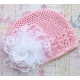 Πλεκτo σκουφακι Pink & white marabou