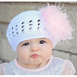 Πλεκτo σκουφακι White & pink marabou