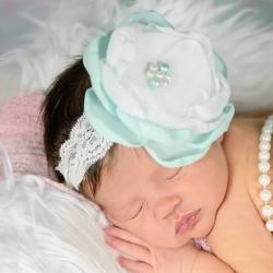 Κορδέλα μαλλιών aquamint and white flower