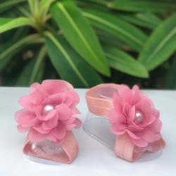 Βρεφικά σανδάλια Dusty pink pearl flower