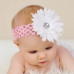 """Κορδελα """"white flower""""with pink"""