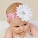 Κορδέλα μαλλιών white flower with pink