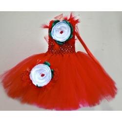 """Φορεμα """"Red &white flower"""" με κορδελα"""