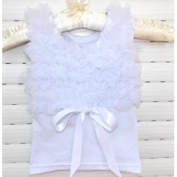 μπλουζάκι white with white chiffon