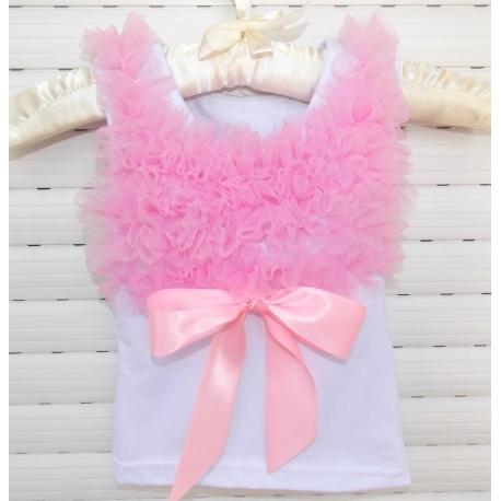 white with pink chiffon ruffles