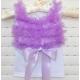 white with purple chiffon ruffles