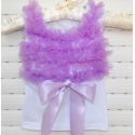 white with lavender chiffon ruffles