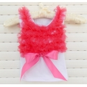 white with coral red ruffles