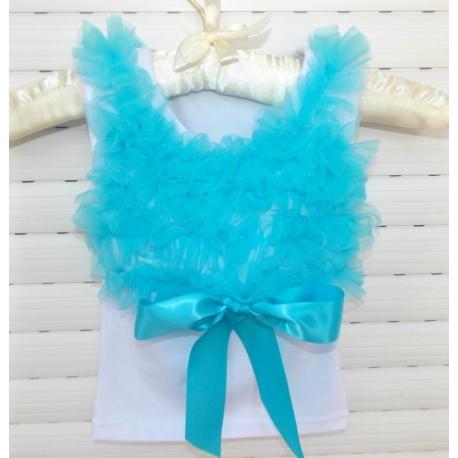 white with aquamarine chiffon ruffles