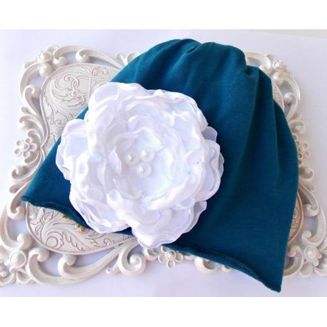 """Σκουφακι """"Blue with flower"""""""