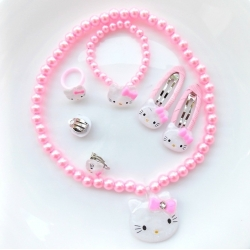 "Σετ ""Hello Kitty"" pink pearls"