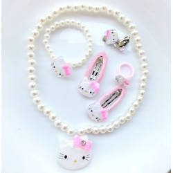 "Σετ ""Hello Kitty"" white pearls"