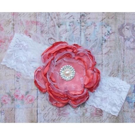"""κορδελα """"Coral pink"""" vintage flower"""