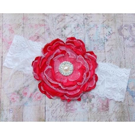 """κορδελα """"Coral red"""" vintage flower"""