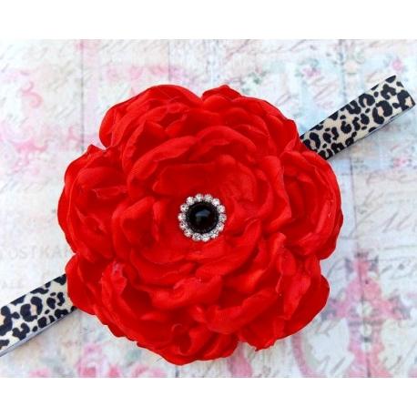 """κορδελα μαλλιων """"Red & leopard flower"""" 1"""